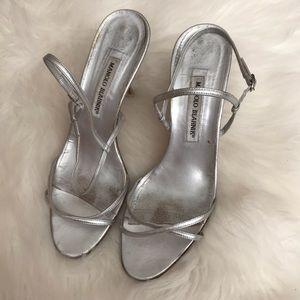 Manolo Blahnik Metallic Leather Sandals  39.5EU